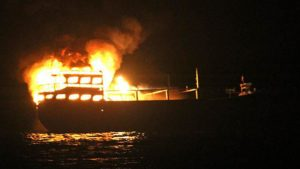 Kapal Terbakar, 11 Nelayan Terombang-ambing di Laut 2 Hari.